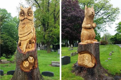 Woodlawn Cemetery tree carving by William Christ